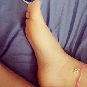 Goddess MayaLoux wears a symbolic anklet showing her ownership of her slave